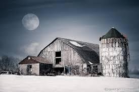 Photos Of Old Barns Old Barn Winter Moon Rustic Landscape Snow Moonlight