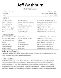 theatrical resume format technical theatre resume format musical template theatrical the