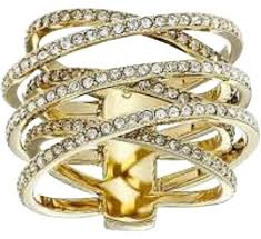 cross jewelry rings images Michael kors gold tone statement pave criss cross size 8 ring jpg