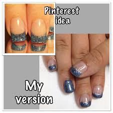 dusty blue glitter french gel nails pigment powder glitter u0026 gel
