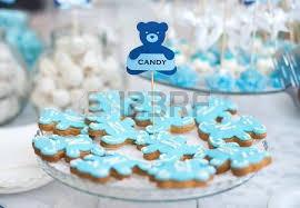 Wedding Candy Table Blue And Green Colored Birthday Party Table With Sweets And