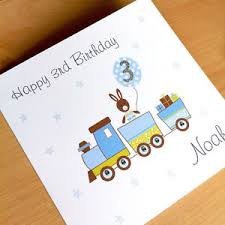 handmade personalised birthday card boy train 1st 2nd 3rd 4th