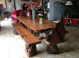 Second Hand Kitchen Table And Chairs by Rustic Live Edge Redwood Dining Table With Rustic Chairs And