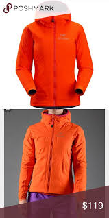arcteryx atom lt hoody tiger lily orange jacket condition 10 10