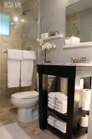the small open shelf bathroom vanity also adds to the feel of
