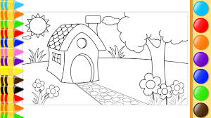 how to draw and color house trees and flowers in the garden