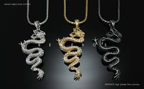 swarovski crystal chain necklace images Dragon pendant chain necklaces 18k gold silver black plated mens jpg