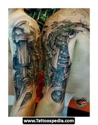 grey ink 3d biomechanical tattoo on half sleeves tattoos