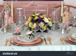 Table Place Settings by Easter Dinner Table Place Setting Decorations Stock Photo 3072491