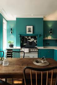 Green Kitchen New York Shaker Style Devol Kitchen In London With Statement Tiled Backsplash