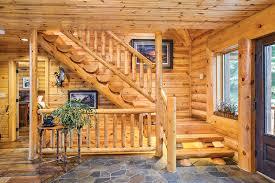 log home interior walls a hybrid half log home in wisconsin