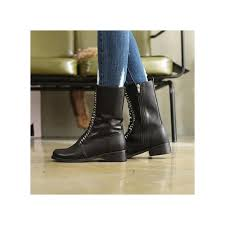 womens boots zip up back womens black synthetic leather toe lace up side zip back tap