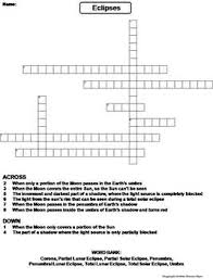 lunar and solar eclipses 2017 worksheet crossword puzzle by