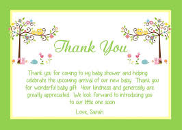 thank you baby shower baby shower thank you notes sle letter wording exle