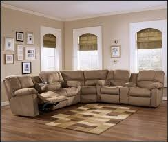 endearing sectional sofas with recliners and cup holders brown
