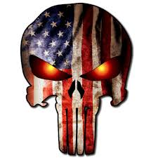 Burning Red Flag Punisher Skull Military American Flag Eyes On Fire Glow Burning Us