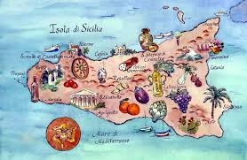 Map Of Italy And Sicily by Map Of The Island Of Sicily Italy Reproduction Art Print Of