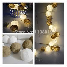 light and battery store brown white cotton ball led string light battery operated led