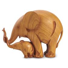 adorable mother and baby elephant carved sculptures wish list