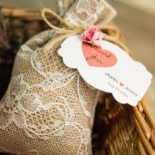 lace favor bags affordable rustic jute lace favor bags with heart tags and flowers