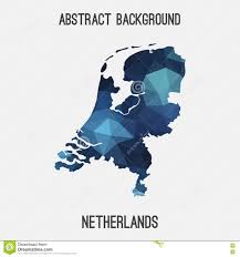 Holland Map Netherlands Holland Map In Geometric Polygonal Mosaic Style Stock