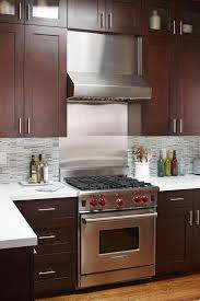 stainless steel backsplash tiles kitchen contemporary with island
