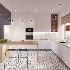 kitchen room eclectic scandinavian kitchen with geometric eclectic scandinavian kitchen with geometric patterned ceramic floor and wood dining table featuring white kitchen cabinets 1200 1200 artenzo com