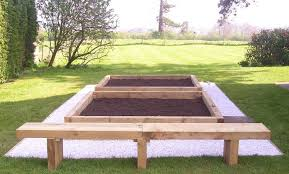 Raised Garden Bed With Bench Seating Garden Furniture Made From Sleepers Interior Design