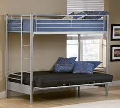 grey iron bunk bed with double beds and ladder completed by blue