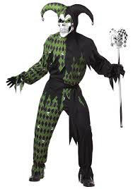 Skeleton Halloween Costume Kids Mens Green Scary Jester Costume
