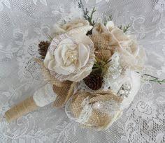 Shabby Chic Bridal Bouquet by Wooden Sola Flower Bridesmaid Bouquet Sola Flower Decor
