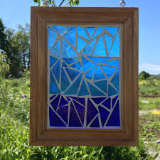 blue ombre stained glass suncatcher blue stained glass mosaic