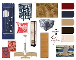 concept board for a zen inspired living and dining room