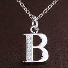 necklace pendants letters images Fashion letter b silver plated necklace new sale necklaces jpg