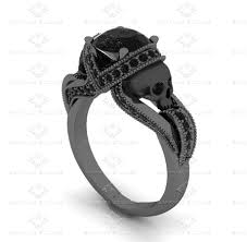 engagement rings skull sapphire studios aphrodite 1 60 ct skull black gold engagement ring