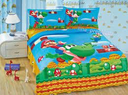 Mario Bros Bed Set Mario Bros Luigi Yoshi Duvet Cover Pillow Flat Sheet Bedding