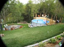 triyae com u003d above ground pool on a sloped backyard various