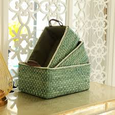 Handmade Wicker Storage Baskets Bins Containers toy organizer box