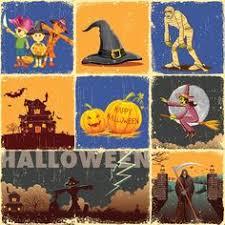 vector pumpkin set with spider glowing happy halloween background