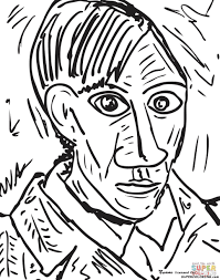 pablo picasso coloring pages self portrait by pablo famous
