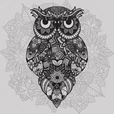 Patterned Flying Owl Drawing Illustration Patterned Vector Owl On The Ornamental Mandala Background