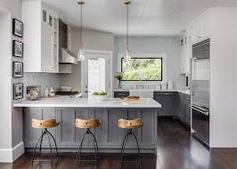 Kitchen Peninsula Design White And Gray Kitchen Features Gray Distressed Cabinets Paired