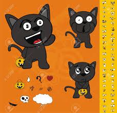 free clipart halloween halloween black cat cartoon set royalty free cliparts vectors