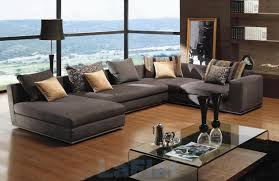 Sectional Sofas For Small Living Rooms Grey Fabric Sectional Sofa With Cushions On Brown Wooden