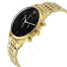 gold armani bracelet images Emporio armani classic black dial gold tone stainless steel men 39 s jpg