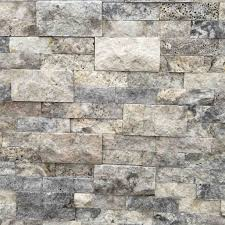 travertine wall cladding silver stack stone rockface natural