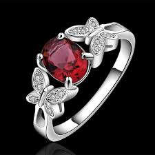 crystal fashion rings images Red champagne gem stone silver ring with aaa zircon crystal cz for jpg