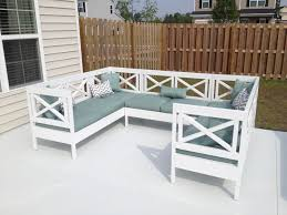 White Painted Oak Furniture Outdoor U Shaped Couch With White Painted Wooden Frame And Gray