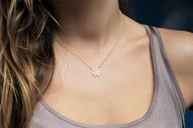 monogrammed gold necklace items similar to tiny monogram necklace 18k gold necklace solid