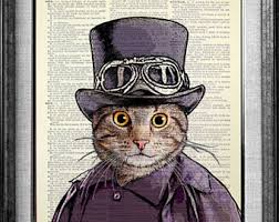 cat print dictionary art print book art book